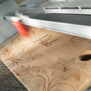 Floral Design Laser Engraved On Wooden Cutting Board