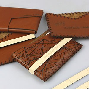 Laser Engraved Leather Business Card Holders